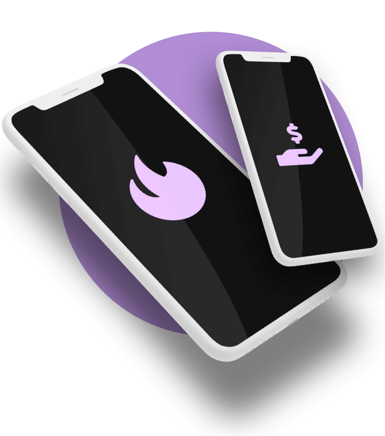Two White Clay Mobile Phones On a Purple Circle With Purple Flame On Screen
