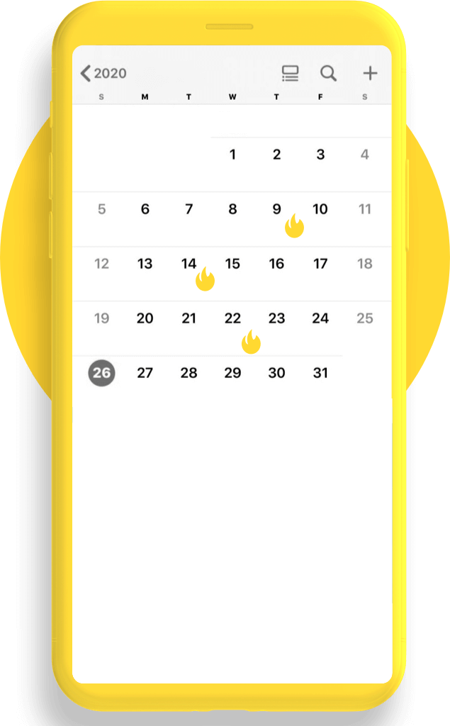 Yellow mobile phone with calendar showing days highlighted with Mail Blaze flame icon
