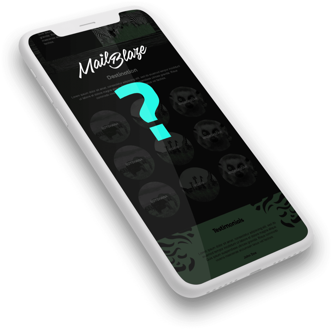 Mail Blaze logo on a phone with a question mark on the phone ready to answer your questions