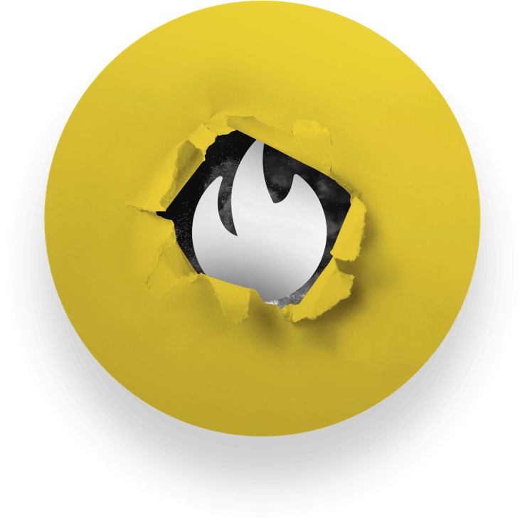 Yellow circle with white flame emblem peeking out